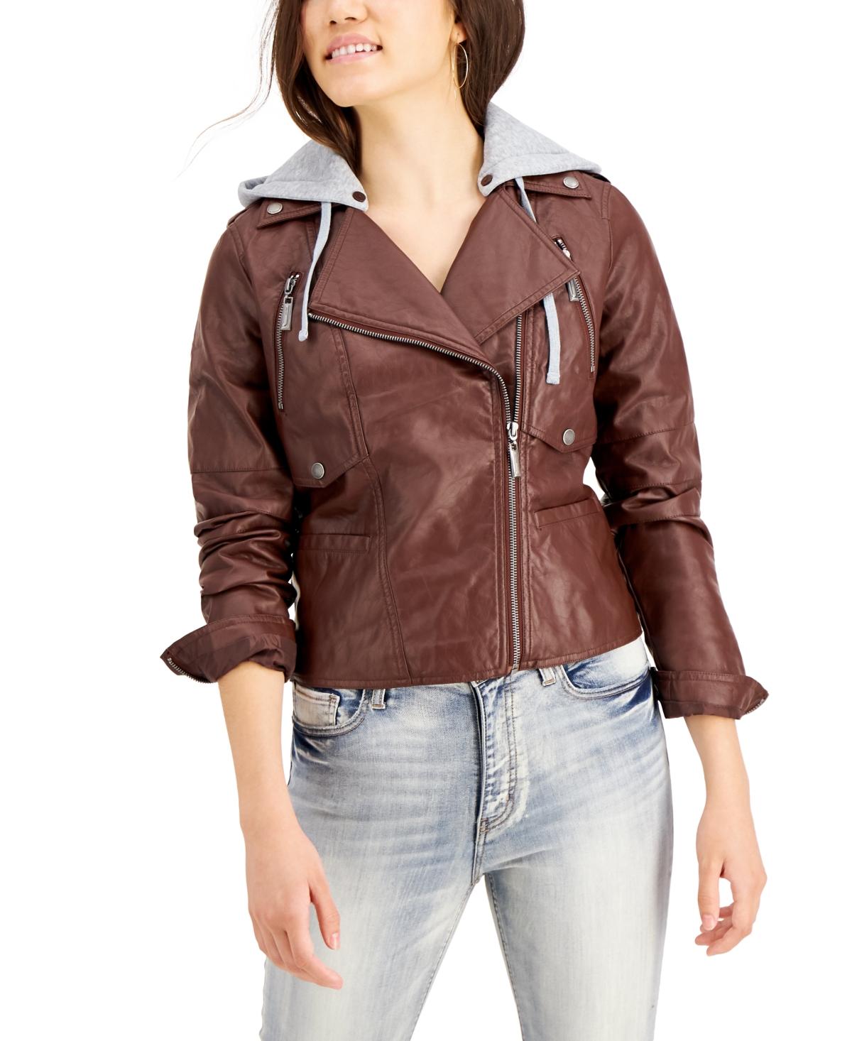 Juniors' Hoodie Faux-Leather Moto Jacket