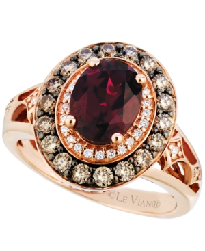 Le Vian Raspberry Rhodolite Garnet (2 ct. t.w.) and Diamond (3/4 ct. t.w.) Ring in 14k Strawberry Rose Gold, Created for Macy's