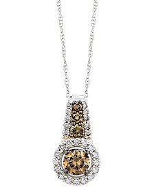 Le Vian Chocolate and White Diamond Pendant Necklace in 14k White Gold (1/2 ct. t.w.)