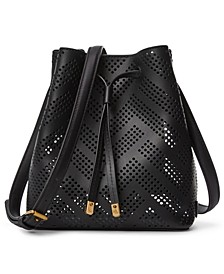 Debby II Perforated Leather Drawstring Bag