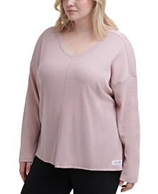 Plus Size Long-Sleeved Seamed Top
