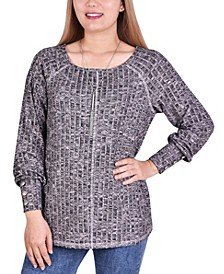 Women's Long Sleeve Ribbed Pullover with Detachable Necklace
