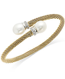 Cultured Freshwater Pearl and Cubic Zirconia Mesh Cuff Bracelet in 14k Gold over Sterling Silver (10mm)