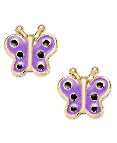 Children's Enamel Butterfly Stud Earrings in 18k Gold over Sterling Silver