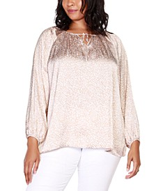 Black Label Plus Size Printed Tie Neck Top with Blouson Sleeves