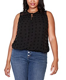 Black Label Plus Size Sleeveless Wrap-Front Top with Ruffle and Neck Tie Detail