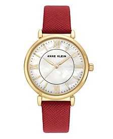 Woman's Red Vegan Leather Strap Watch 36mm