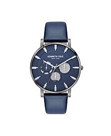 Men's Multifunction Blue Genuine Leather Strap Watch 42mm