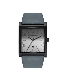 Men's 3 Hands Date Gray Genuine Leather Strap Watch 36mm