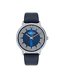 Men's 3 Hands Blue Genuine Leather Strap Watch 44mm