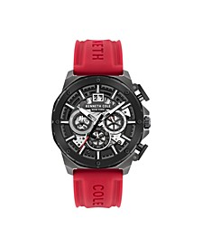 Men's Chronograph Red Silicon Strap Watch 45mm