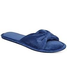 Women's Velvet Bow-Top Slide Slippers, Created for Macy's