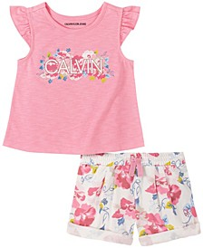 Little Girls Ruffle Sleeve Top and Floral Terry Shorts Set