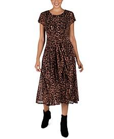 Petite Leopard-Print Tie-Front Dress