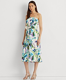 Strapless Paisley Print Midi Dress