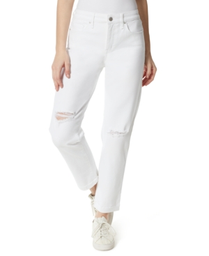 High Rise Distressed Straight Leg Jeans