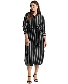 Plus-Size Striped Belted Crepe Shirtdress