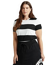 Plus Size Striped Short-Sleeve Sweater