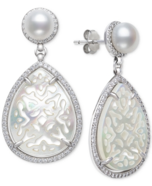 Cultured Freshwater Pearl (6mm) & Mother-of-Pearl Drop Earrings in Sterling Silver