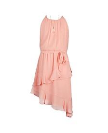 Big Girls Dress Halter Asymmetrical Skirt with Ruffle