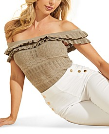 Nola Off-The-Shoulder Pointelle Sweater