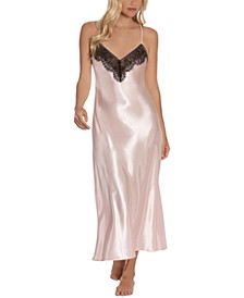 Max Paisley Solid Charmeuse Satin Nightgown