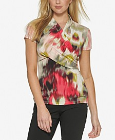 Short-Sleeve Wrapped-Neck Top