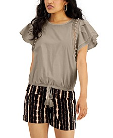 INC Flutter Sleeve Tassel Tie Front Top, Created for Macy's