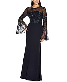 Beaded Flared-Sleeve Gown