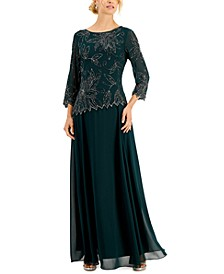 Beaded-Overlay Gown