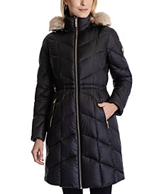 Petite Shine Faux-Fur Hooded Puffer Coat, Created for Macy's