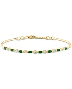 Emerald (5/8 ct. t.w.) & Diamond (1/5 ct. t.w.) Bangle Bracelet in 14k Gold