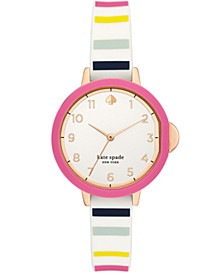 park row three-hand multicolor-striped silicone watch, 34mm