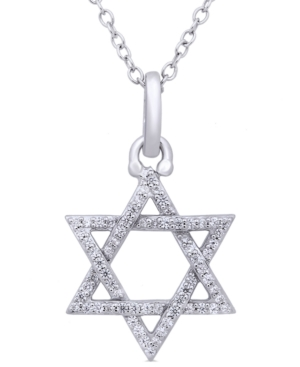 """Diamond Star of David 18"""" Pendant Necklace (1/5 ct. t.w.) in Sterling Silver"""