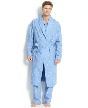 Men'S All Over Polo Player Robe in Beach Blue