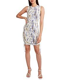 Tie-Dyed Knit Drawstring Tank Dress