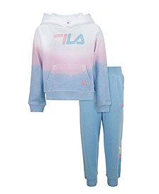 Little Girls Cropped Tie Dye Hoodie and Jogger Set