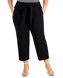 Plus Size Cropped Tie-Front Pants, Created for Macy's