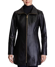 Petite Stand-Collar Leather Coat