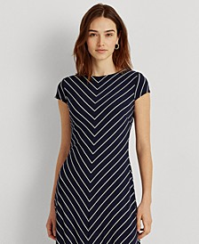 Chevron Cap-Sleeve Jersey Dress