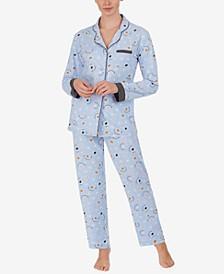 Printed Knit Notch Collar Pajama Set