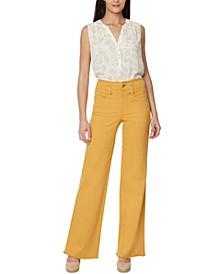 Teresa Wide-Leg Frayed-Hem Jeans