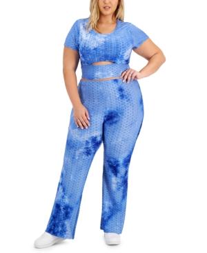 Trendy Plus Size 2-Pc. Cutout T-Shirt & Pants Set