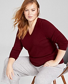 Plus Size Cashmere Wool Blend V-Neck Sweater, Created for Macy's