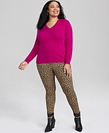 Plus Size Cashmere Blend V-Neck Sweater, Created for Macy's