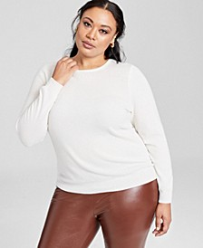 Plus Size Cashmere Wool Blend Crewneck Sweater, Created for Macy's