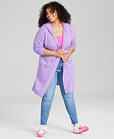 Plus Size Hooded Cashmere Cardigan, Created for Macy's
