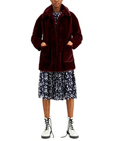 Juniors' Leopard Faux-Fur Coat, Created for Macy's