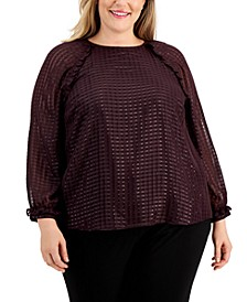 Plus Size Sheer Checked Blouse