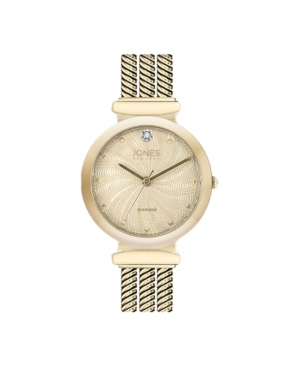 Jones New York Women's Genuine Diamond Dial Gold-Tone Tri-Band Analog Watch 40mm